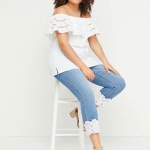 Lane Bryant-High-Rise Crop Jean-Lace Cuff- Size 28